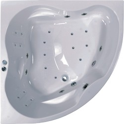 Aquaestil Newa Eclipse Large Corner Whirlpool Bath. 24 Jets. 1500x1500.