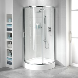 Bristan Java 950mm Quadrant Shower Enclosure & Tray (Sliding Door, Silver).