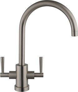 Hydra Ruby Kitchen Faucet With Twin Lever Controls (Brushed Steel).