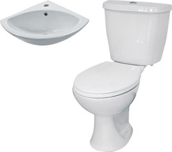 Hydra 3 Piece Bathroom Suite With Toilet & Corner Basin.