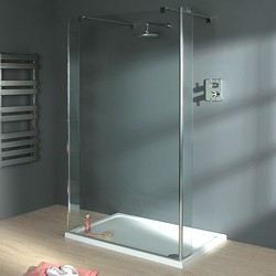 Lakes Italia Wet Room Glass Shower Screen, 1200x1950. 750mm Arms.