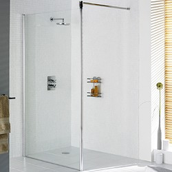 Lakes Classic 800x1900 Glass Shower Screen (Silver, 8mm Glass).