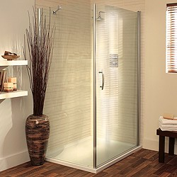 Lakes Italia 900x800 Shower Enclosure With Pivot Door & Tray (Silver).