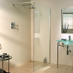 Lakes Italia 1000x1950 Glass Shower Screen & 750mm Arm. Right Handed.