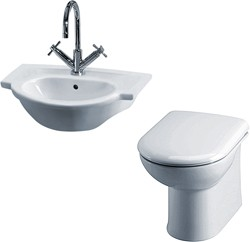 Crown Ceramics Linton Suite With Back To Wall Pan, Seat, Recessed Basin.