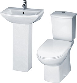 Crown Ceramics Asselby 4 Piece Bathroom Suite With Toilet & 500mm Basin.