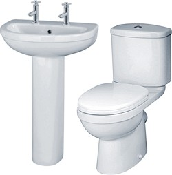 Crown Ceramics Ivo 4 Piece Bathroom Suite With 550mm Basin (2 Faucet Holes).