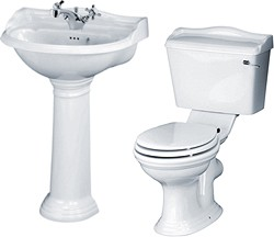 Crown Ceramics Ryther 4 Piece Bathroom Suite With 600mm Basin (1 Faucet Hole).