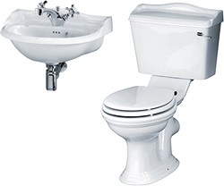 Crown Ceramics Ryther Bathroom Suite With 500mm Cloakroom Basin.