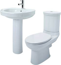 Shires Corinthian 4 Piece Bathroom Suite With Toilet, Seat & 655mm Basin.