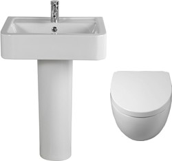 Shires Parisi 3 Piece Bathroom Suite, Wall Hung Toilet Pan & 58cm Basin.