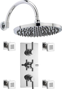 "Hudson Reed Tec Triple Thermostatic Shower Valve, 12"" Shower Head & Jets."