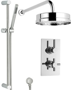 Hudson Reed Tec Twin Thermostatic Shower Valve, Diverter, Head & Slide Rail.