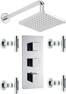 Hudson Reed Kubix Triple Concealed Thermostatic Shower Valve, Head & Jets.