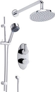 Hudson Reed Arina Twin Thermostatic Shower Valve, Diverter, Head & Slide Rail.