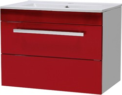 Ultra Design Wall Hung Vanity Unit With Drawer & Basin (Red). 600x450mm.