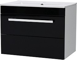 Ultra Design Wall Hung Vanity Unit With Drawer & Basin (Black). 600x450mm.