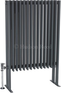 Hudson Reed Radiators Fin Floor Mounted Radiator (Anthracite). 570x900mm.