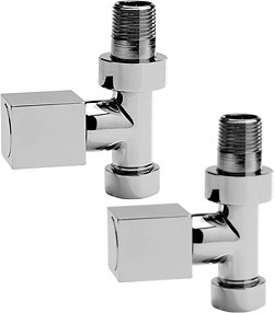 Towel Rails Straight Radiator Valves With Square Handles (Pair).