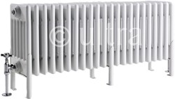 Ultra Colosseum 6 Column Radiator With Legs (White). 1011x480x220mm.