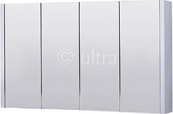 Ultra Lux Mirror Bathroom Cabinet, 4 Doors (White). 1200x650x100mm.