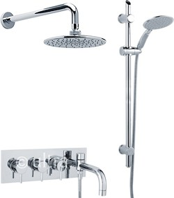 Ultra Quest Thermostatic Bath Filler Faucet, Slide Rail Kit, Shower Head & Diverter.