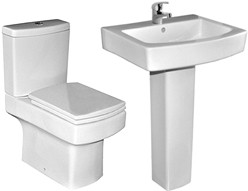 XPress Cube 4 Piece Bathroom Suite With Toilet, Seat & 550mm Basin.