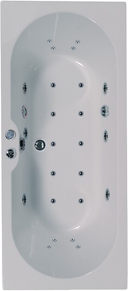 Additional image for Eclipse Double Ended Whirlpool Bath. 24 Jets. 1700x750mm.