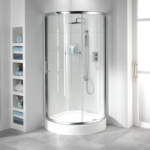 Additional image for 950mm Quadrant Shower Enclosure & Tray (Sliding Door, Silver).