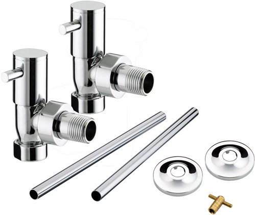 Additional image for Angled Contemporary Radiator Valves Pack (Chrome).