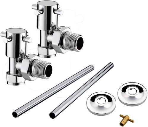 Additional image for Angled Cross Head Radiator Valves Pack (Chrome).