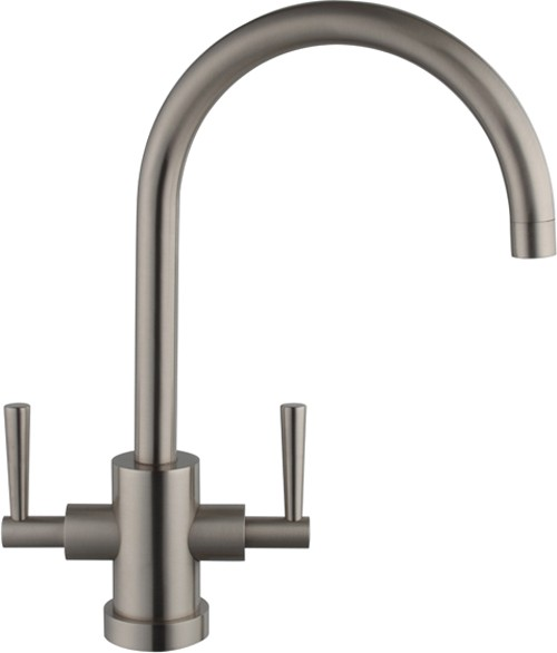 Additional image for Ruby Kitchen Faucet With Twin Lever Controls (Brushed Steel).