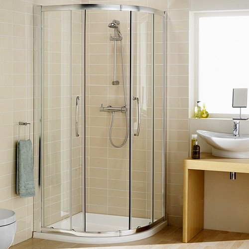 Additional image for 900mm Quadrant Shower Enclosure & Tray (Silver).
