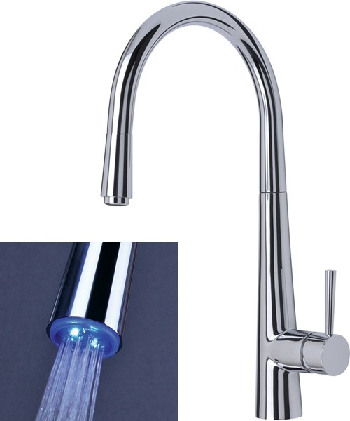 Additional image for Palazzo Glo Kitchen Faucet, Pull Out LED Rinser (Chrome).