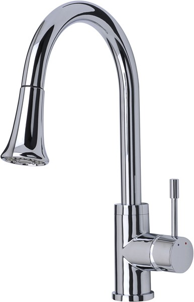 Additional image for Shine Kitchen Faucet, Multi Mode Pull Out Rinser (Chrome).