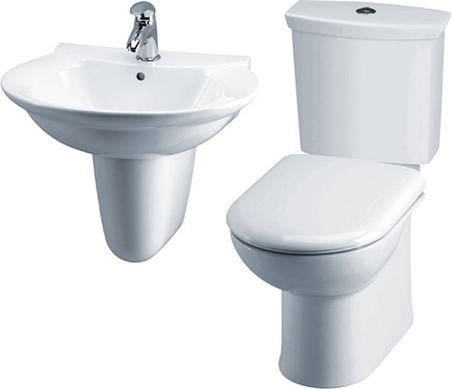 Additional image for Otley 4 Piece Suite, Toilet, Seat, Basin & Semi Pedestal.