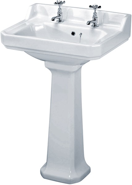 Additional image for Carlton 4 Piece Bathroom Suite, 600mm Basin (2 Faucet Holes).