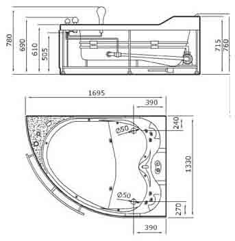 Additional image for Whirlpool Bath for 2 Persons.  Left Hand. 1695x1330mm.