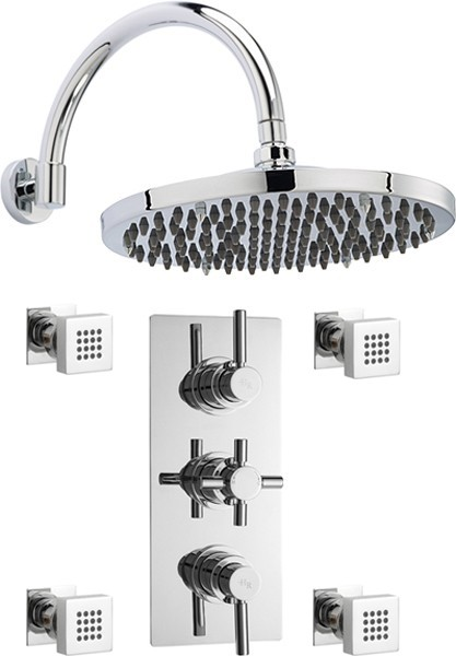 "Additional image for Triple Thermostatic Shower Valve, 12"" Shower Head & Jets."