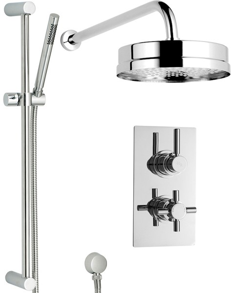 Additional image for Twin Thermostatic Shower Valve, Diverter, Head & Slide Rail.