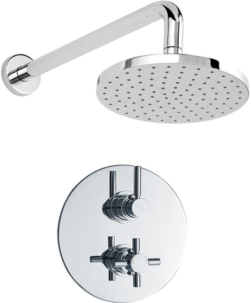 "Additional image for Twin Thermostatic Shower Valve & 7"" Fixed Shower Head."