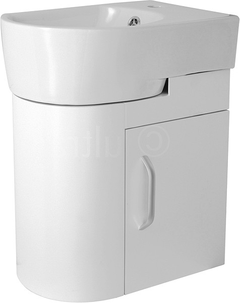 Additional image for Wall Hung Cloakroom Vanity Unit (Left Hand, White). 410x500mm.