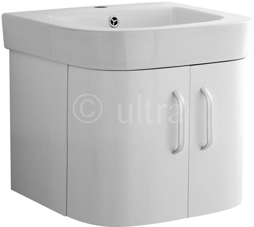 Additional image for Wall Hung Vanity Unit With Ceramic Basin (White). 500x450mm.