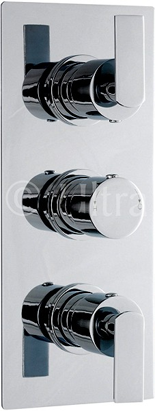 Additional image for Triple Concealed Thermostatic Shower Valve (Chrome).