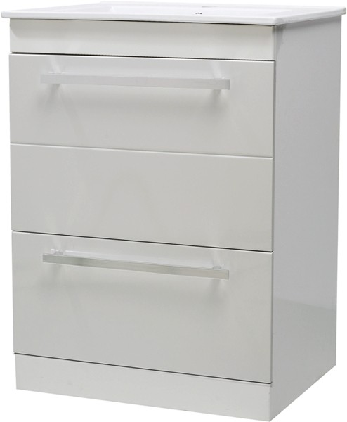 Additional image for Vanity Unit With Ceramic Basin (White). 600x800x400mm.