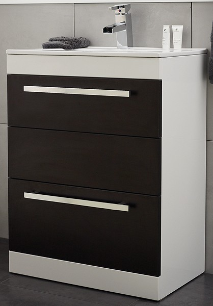 Additional image for Vanity Unit With Ceramic Basin (Ebony Brown). 600x800x400mm.