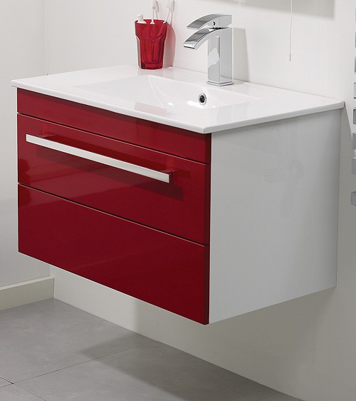 Additional image for Wall Hung Vanity Unit With Drawer & Basin (Red). 600x450mm.