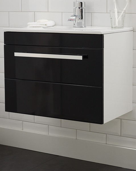 Additional image for Wall Hung Vanity Unit With Drawer & Basin (Black). 600x450mm.