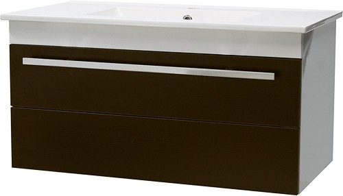 Additional image for Wall Hung Vanity Unit, Drawer & Basin (Ebony Brown). 800x450mm