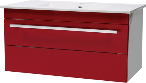 Additional image for Wall Hung Vanity Unit With Drawer & Basin (Red). 800x450mm.